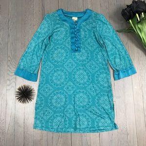 ella moss Blue Pattern 3/4 Sleeve Long Tunic Top